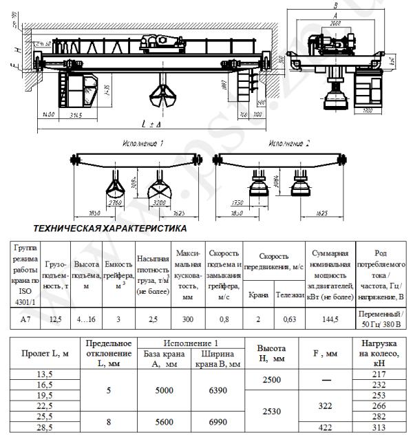 Технические характеристики крана мостового грейферного